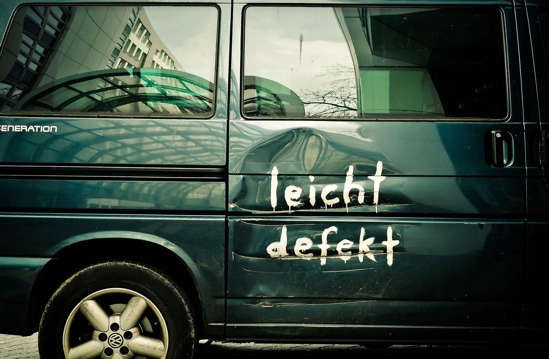 Dent in van