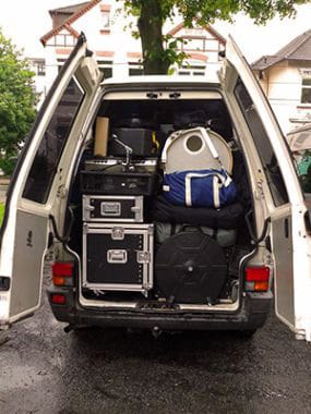 Tour van with equipment